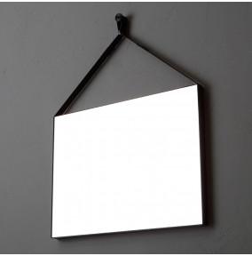 specchio con laccio in ecopelle nera