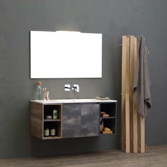 mobile 120 cm completo con vani giorno, lavabo e specchio con lampada