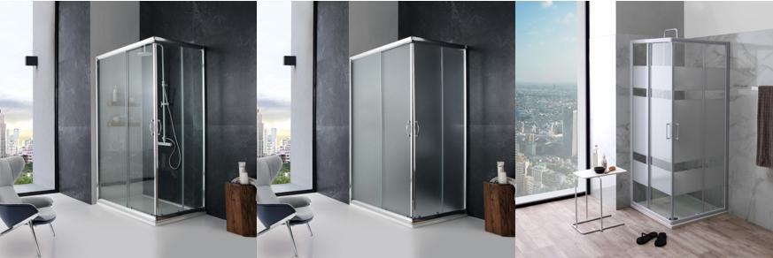 Box doccia con cristallo opaco, trasparente e serigrafato rettangolari