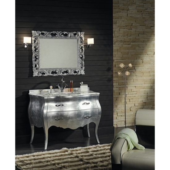 Mobile stile barocco in argento con cassetti e specchiera
