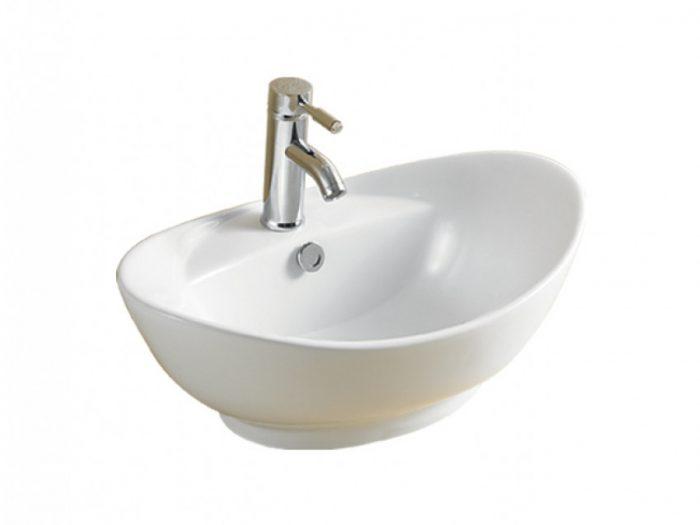 lavabo da appoggio con foro per troppopieno