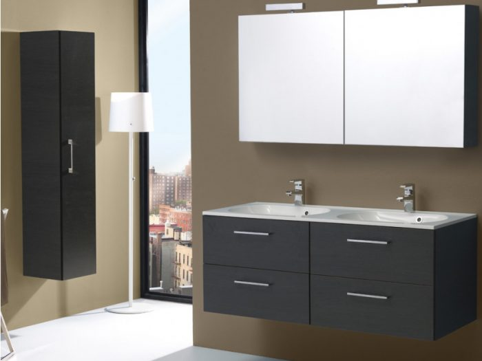 mobile capiente don due lavabi e due specchi contenitore