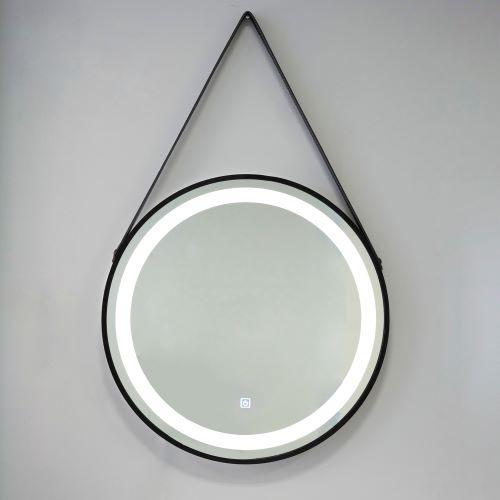 Specchio con illuminazione a led integrata e cornice e laccio ecopelle nero