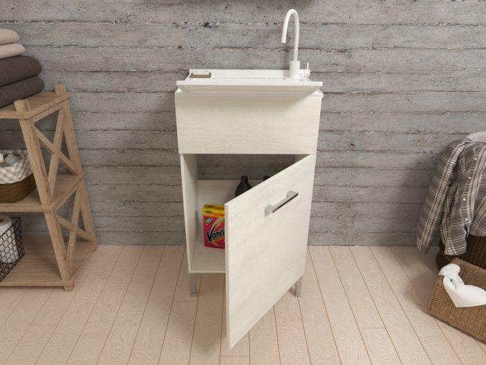 lavatoio 45cm in quercia bianco effetto legno