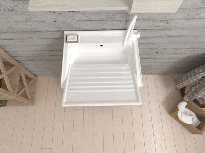 lavatoio con vasca in polipropilene e asse rimovibile
