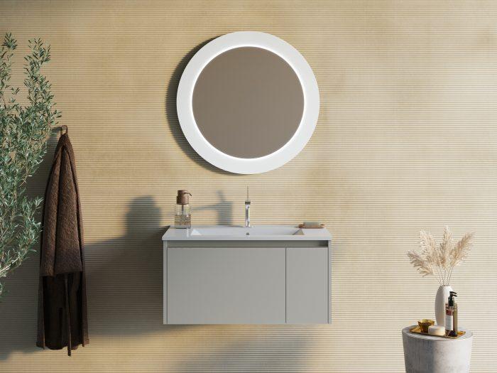 Mobile bagno sospeso grigio opaco