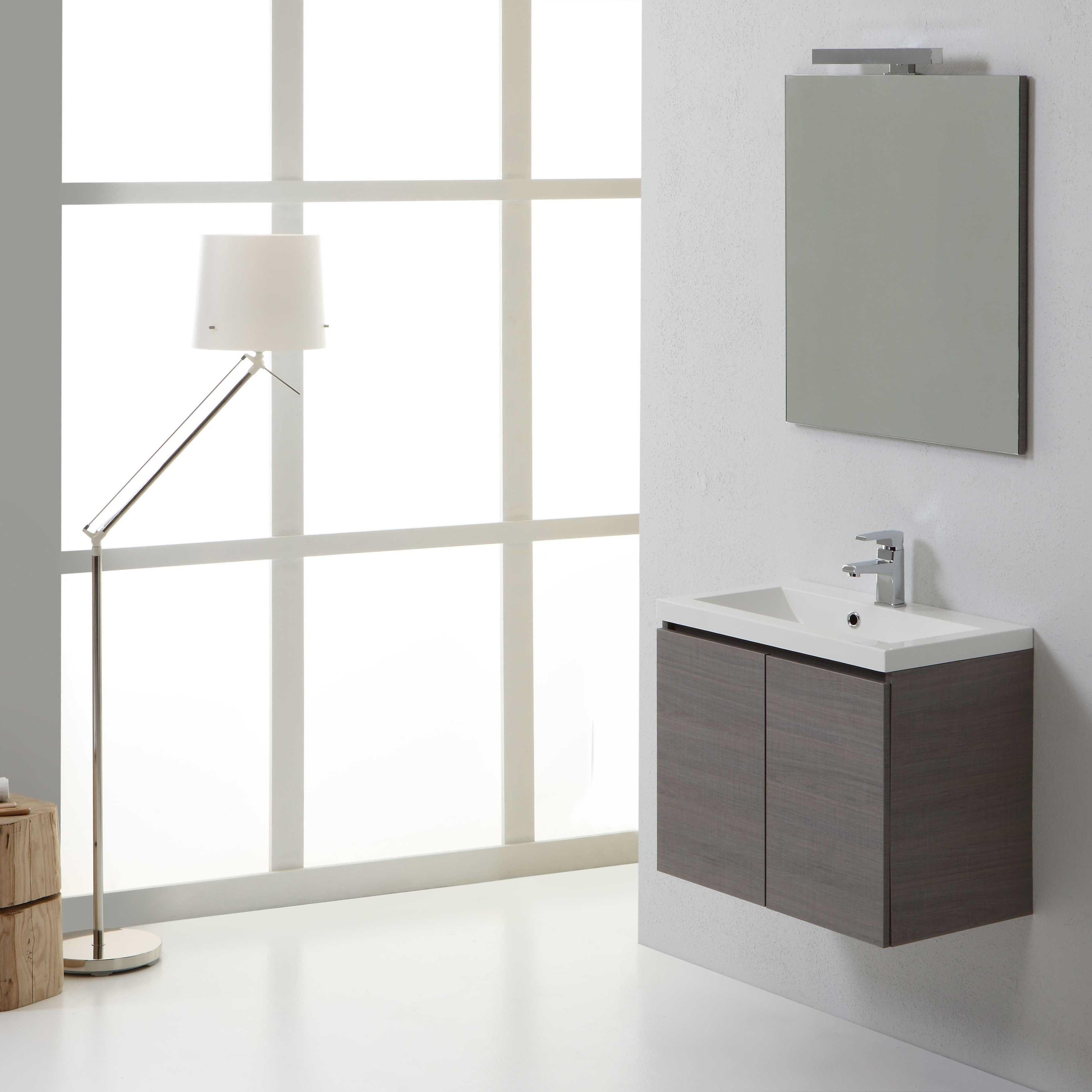 Mobile da bagno 60 cm due ante specchio e lampada finitura legno grigio ebay - Specchio bagno legno ...