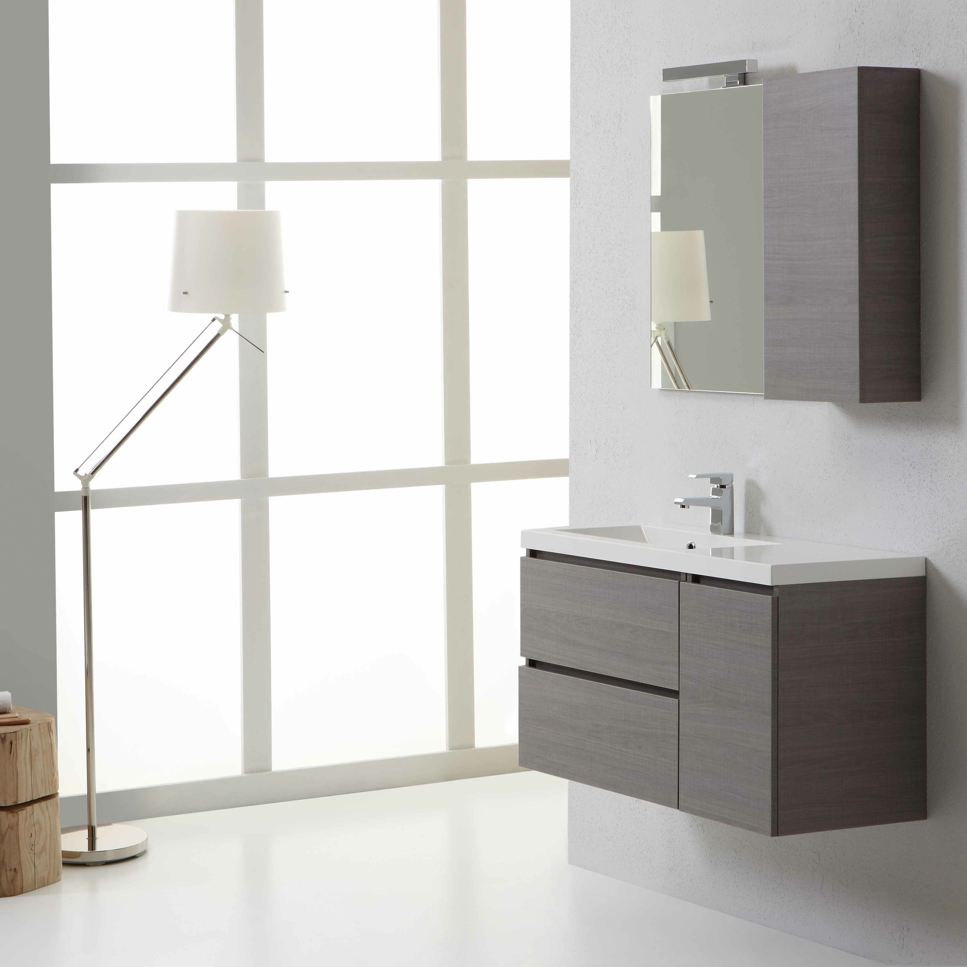 Mobile da bagno finitura grigio moderno disponibile online for Mobile bagno dimensioni
