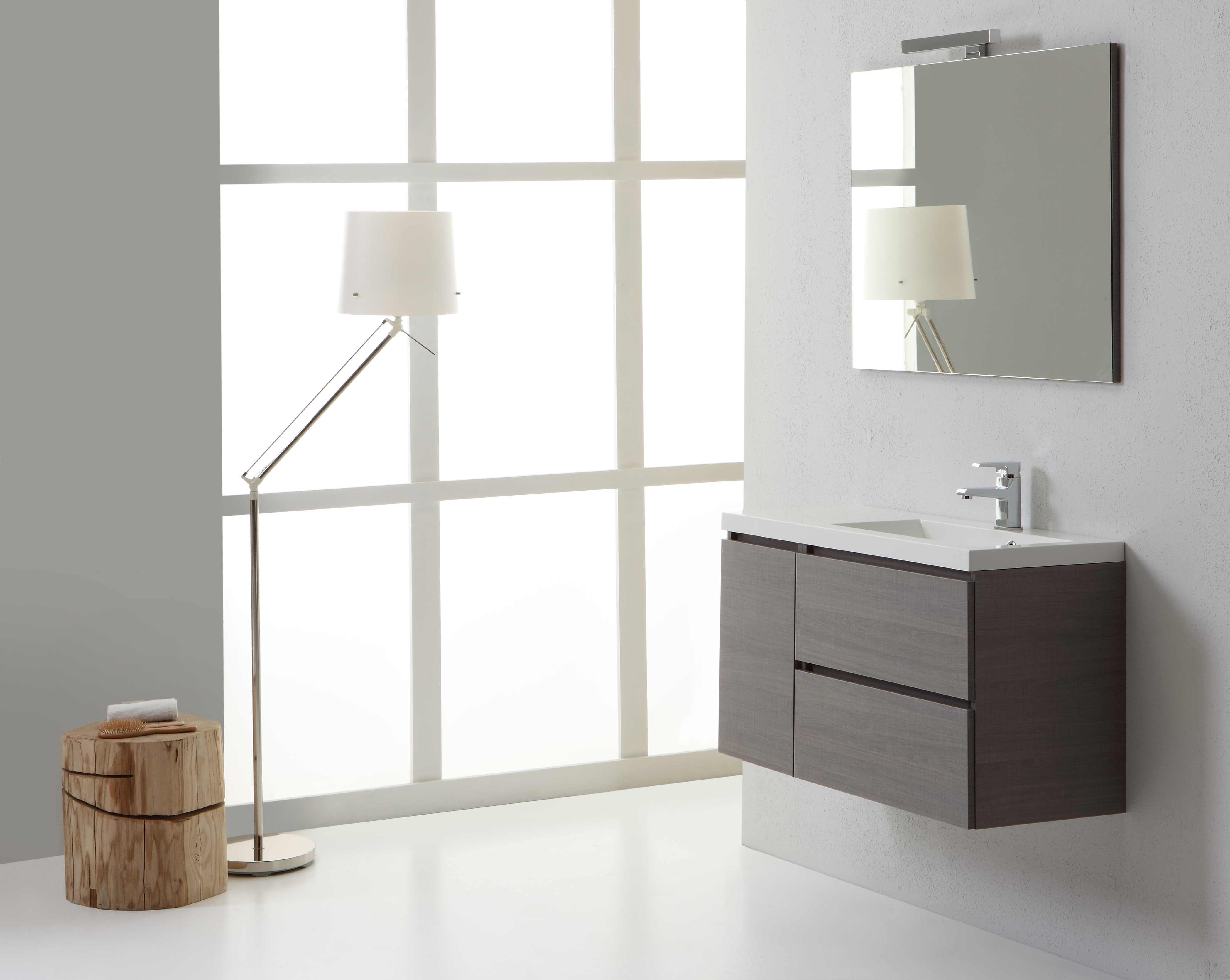 Mobile bagno 90 cm sospeso manhattan lavabo 90 cm destro cassetti grigio modern ebay - Lavabo bagno sospeso offerta ...