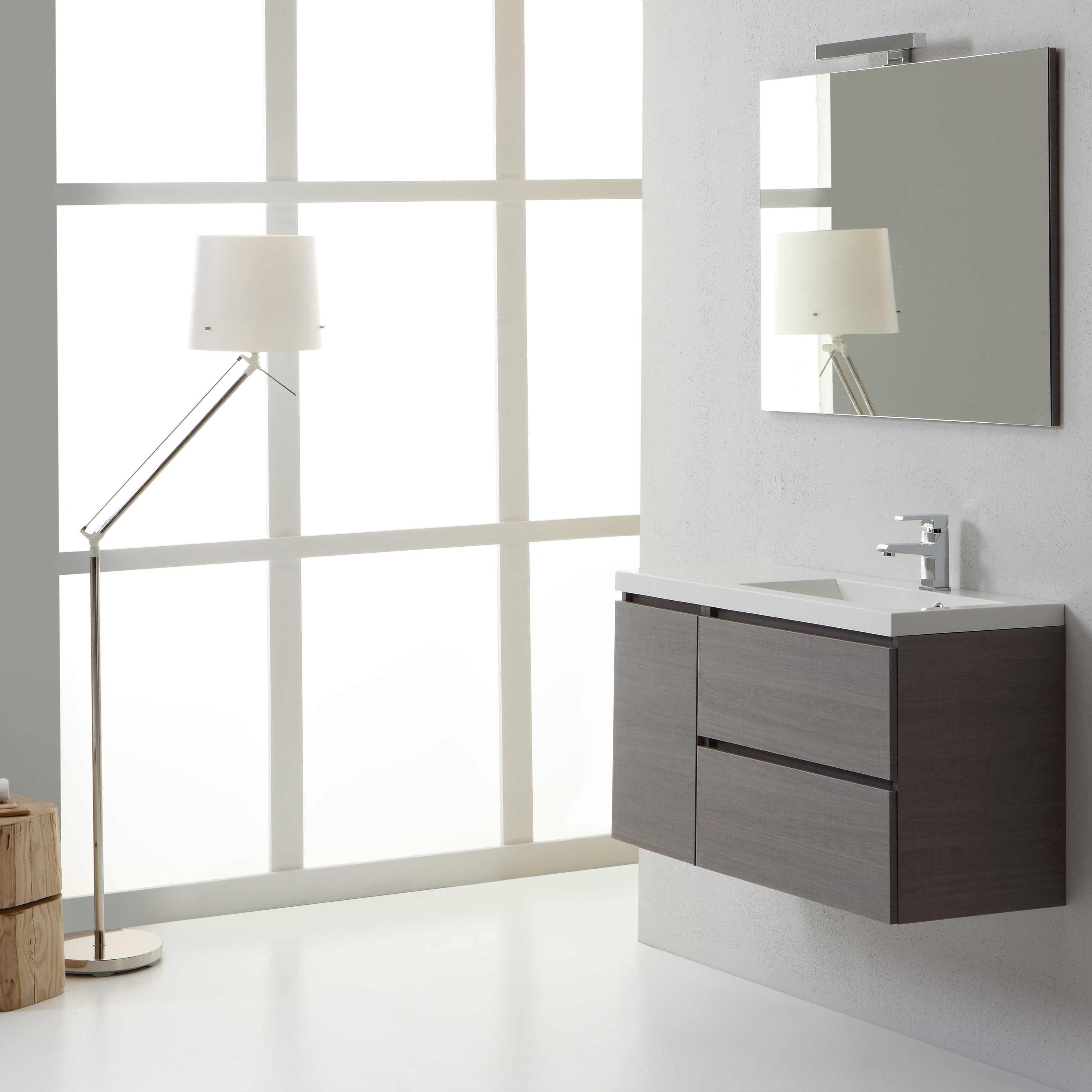 Mobile bagno 90 cm sospeso manhattan lavabo 90 cm destro for Mobile sospeso bagno