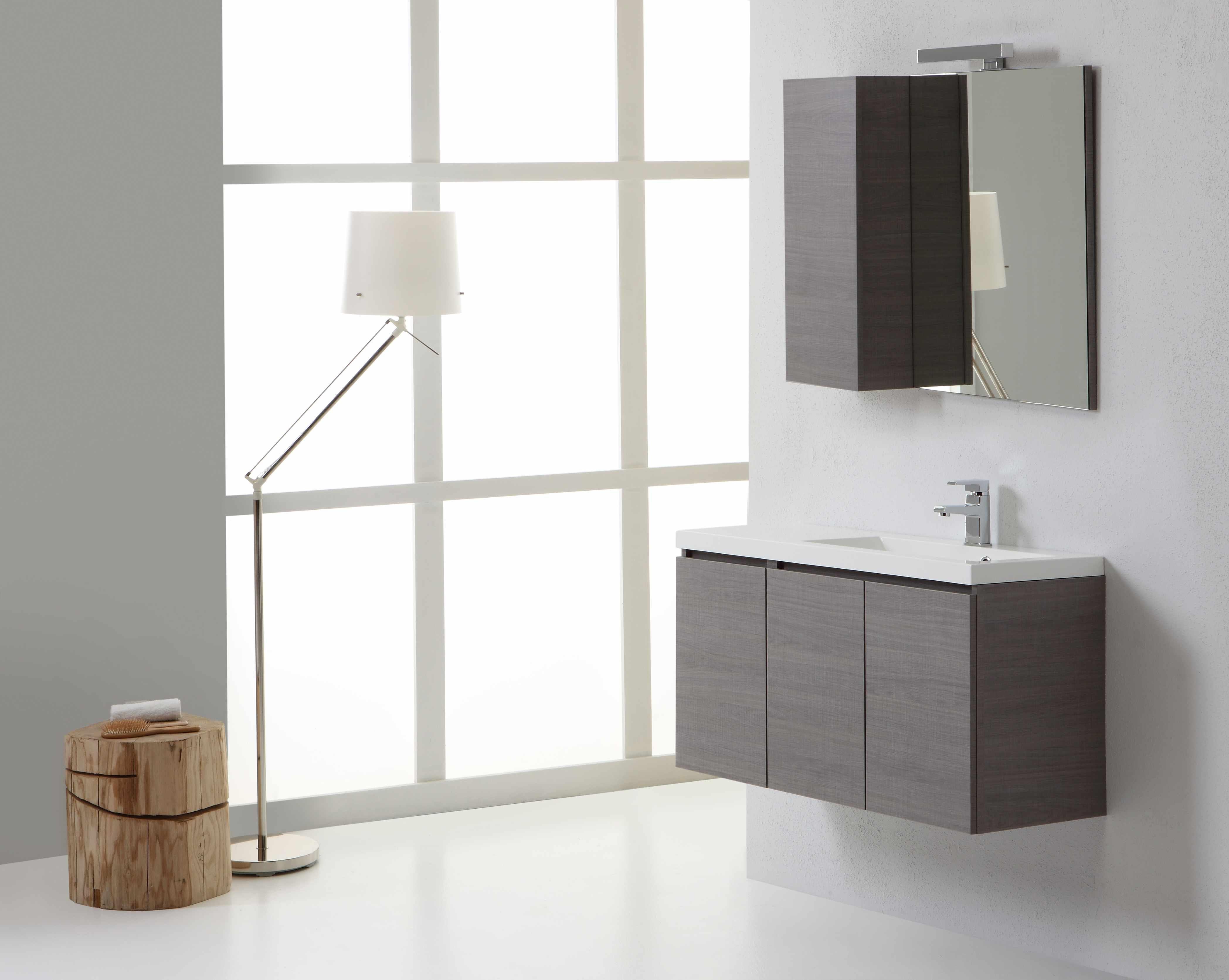 Mobile da bagno manhattan da 90 cm destro con ante e specchio con pensile ebay - Specchio bagno con pensile ...