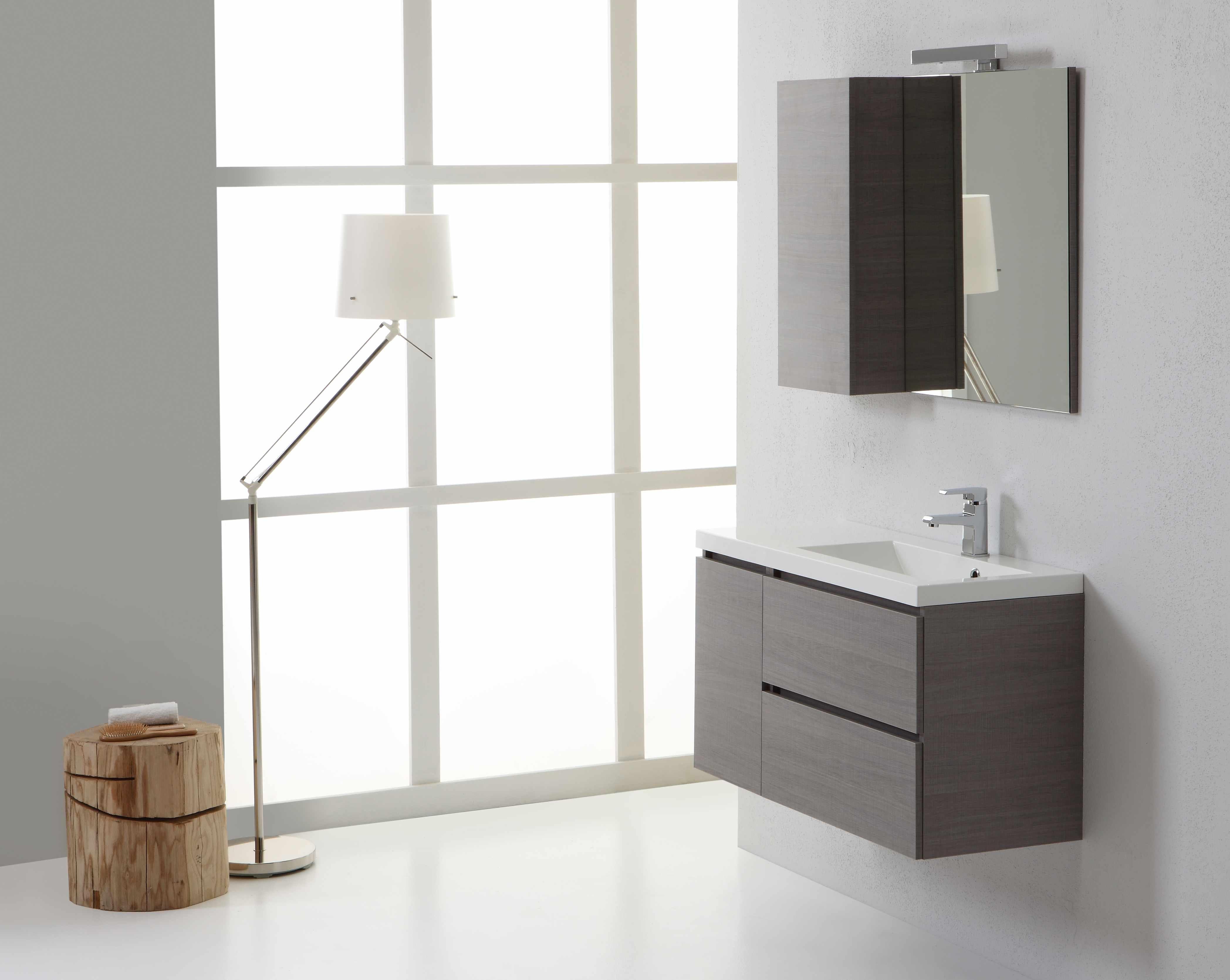 Mobile da bagno manhattan da 90 cm destro e con cassetti - Pensile bagno con specchio ...