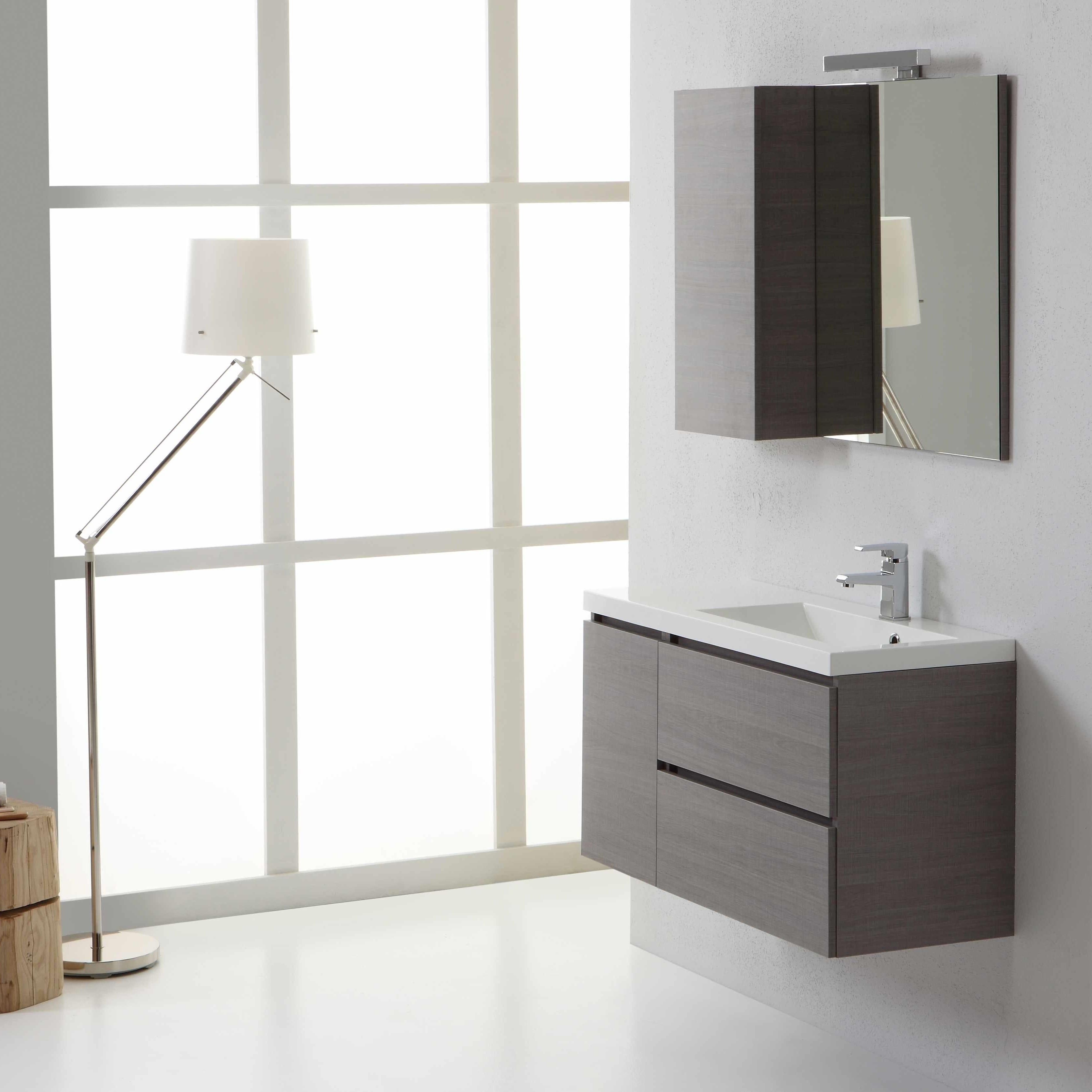 Mobile da bagno manhattan da 90 cm destro e con cassetti specchio con pensile ebay - Specchio bagno con pensile ...
