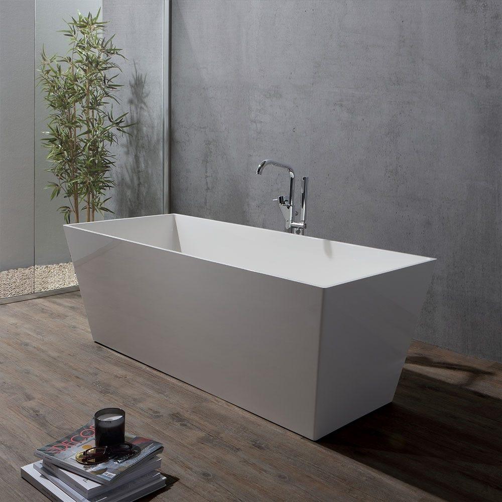 Vasca da bagno da design moderno quadra modello york in bianco lucido ebay - Vasche da bagno dolomite ...