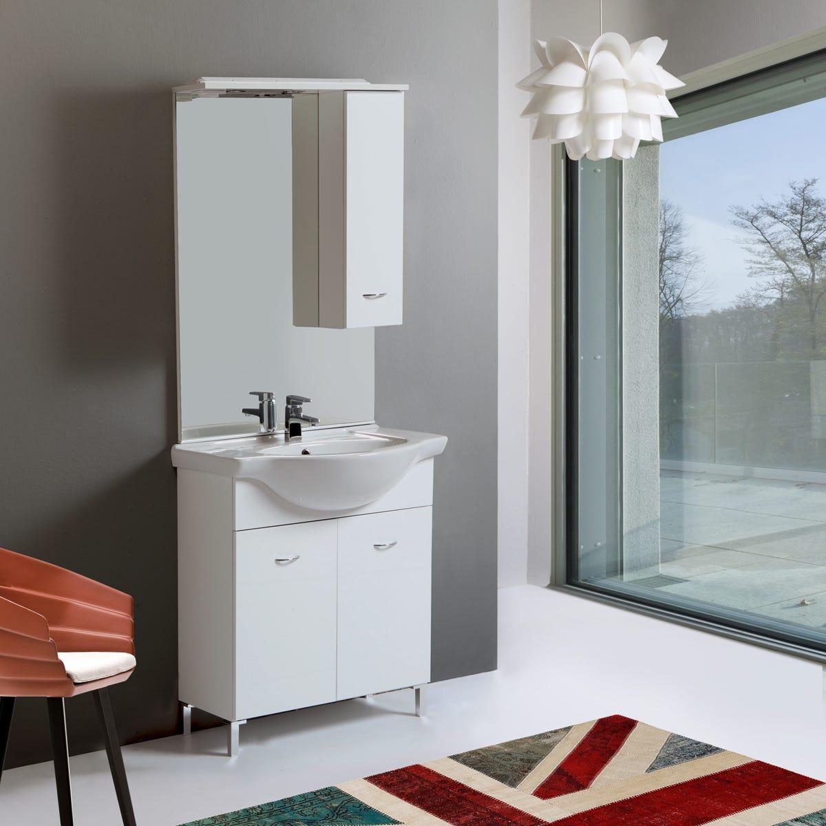 Mobile mobiletto arredo bagno da 75 cm 2 ante specchio - Mobiletto bagno da appendere ...