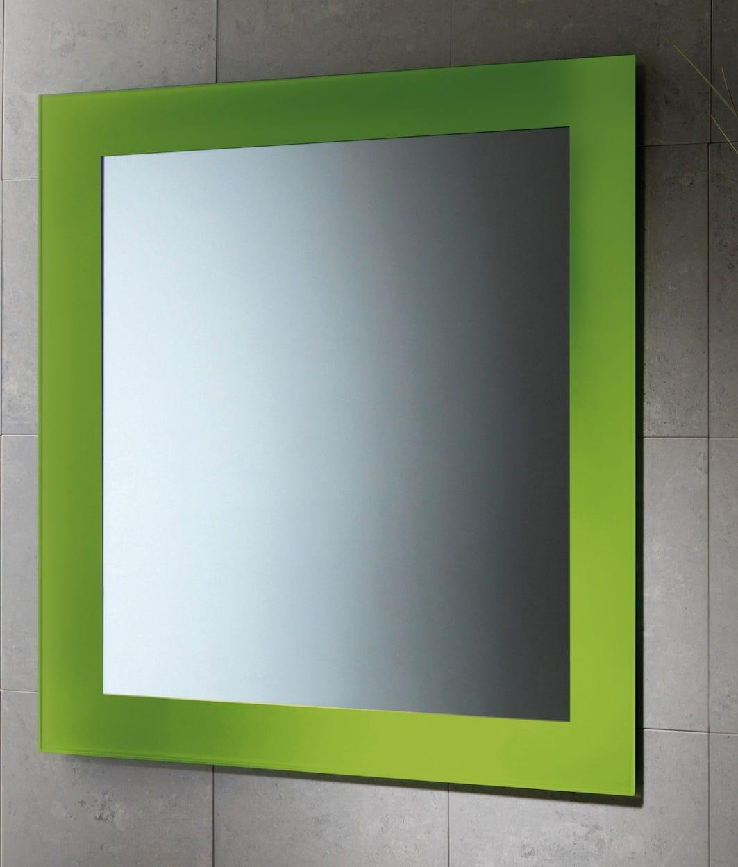 Specchio da bagno 60 x 70 cm cornice laccata modello magic finitura verde acido ebay - Specchio x bagno ...