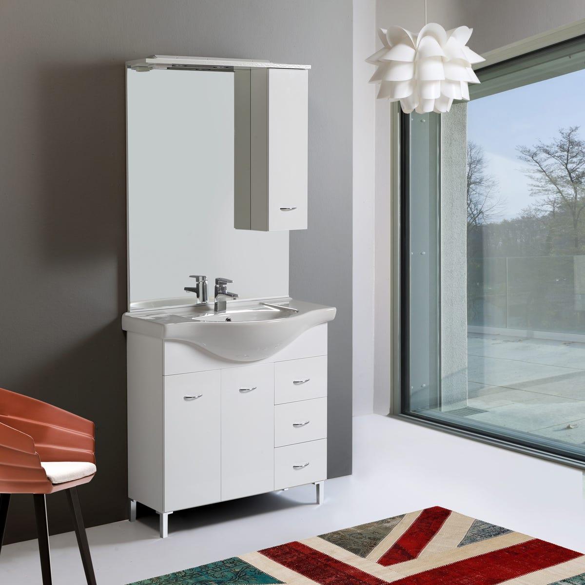 Mobile mobiletto arredo bagno da 85 cm 2 ante 3 cassetti - Mobiletto bagno da appendere ...