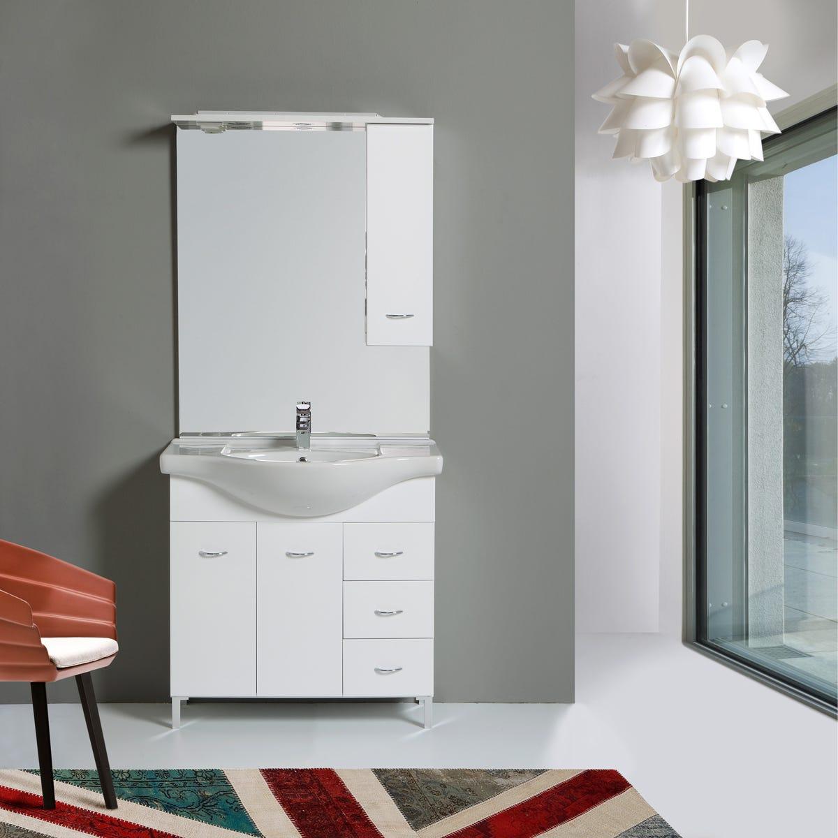Mobile mobiletto arredo bagno da 85 cm 2 ante 3 cassetti specchio modello perla ebay - Mobiletto bagno da appendere ...