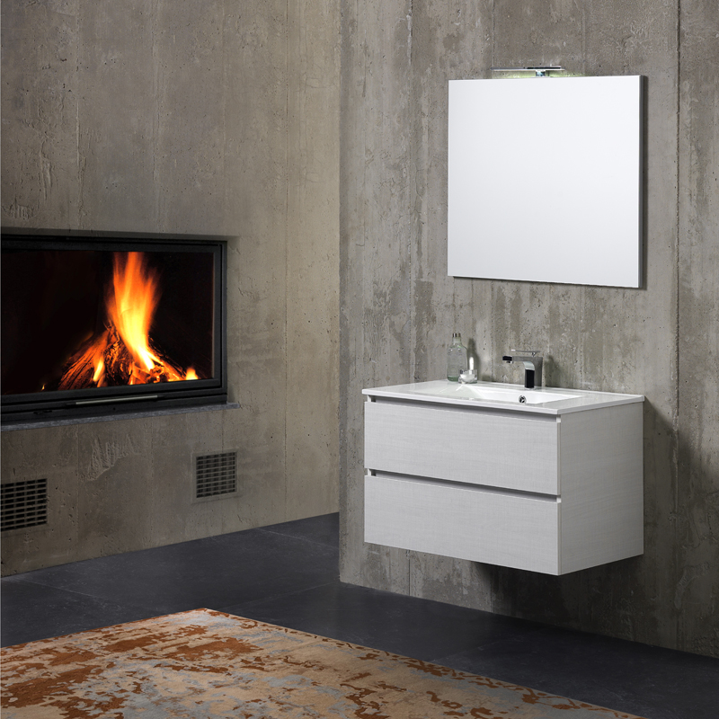 Mobile bagno da 80 cm con lavabo ceramica cassetti e luce for Mobili da bagno
