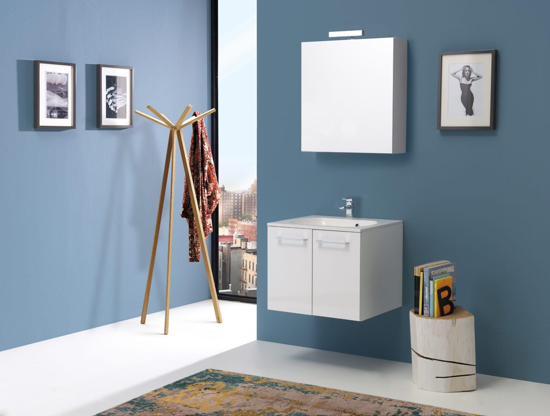 Mobile arredo bagno con specchio contenitore in bianco lucido | eBay