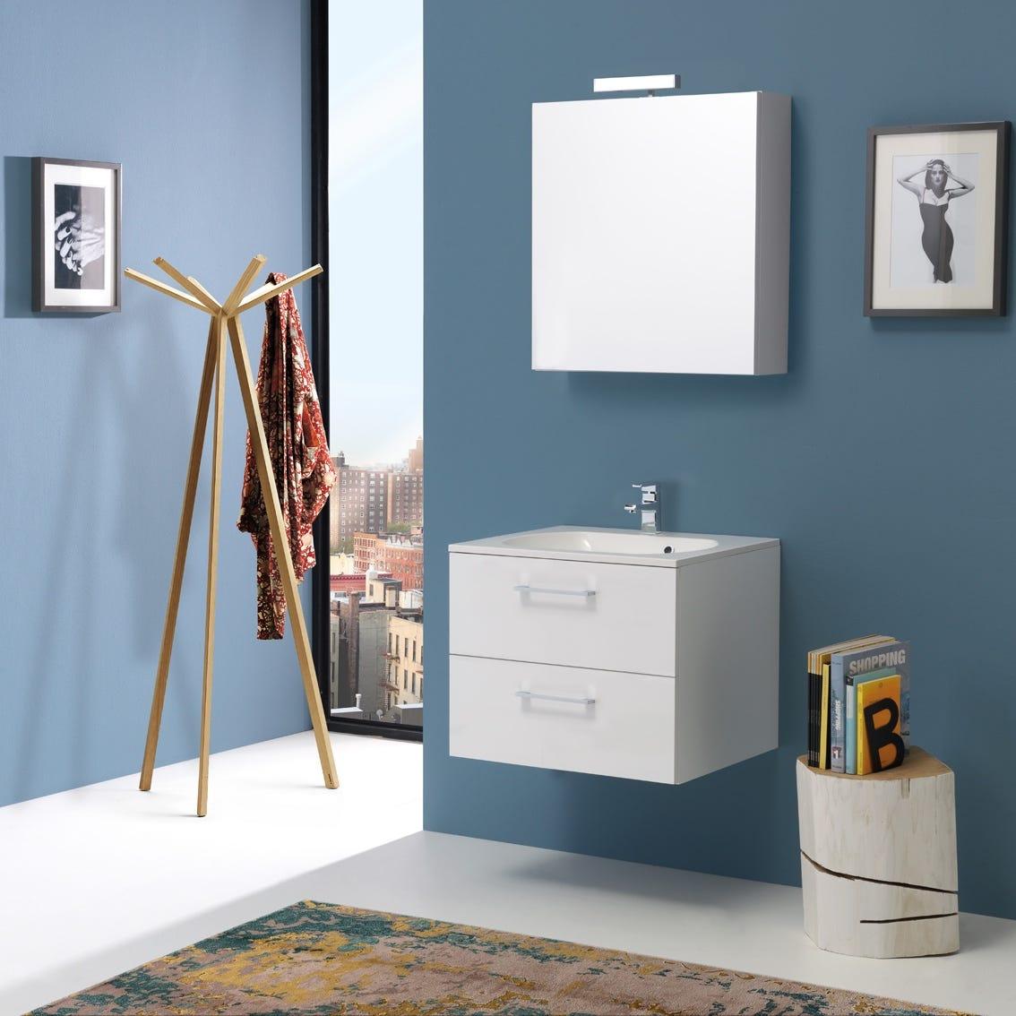 Mobile bagno larghezza 60 cm laccato bianco lucido con for Larghezza mobile bagno