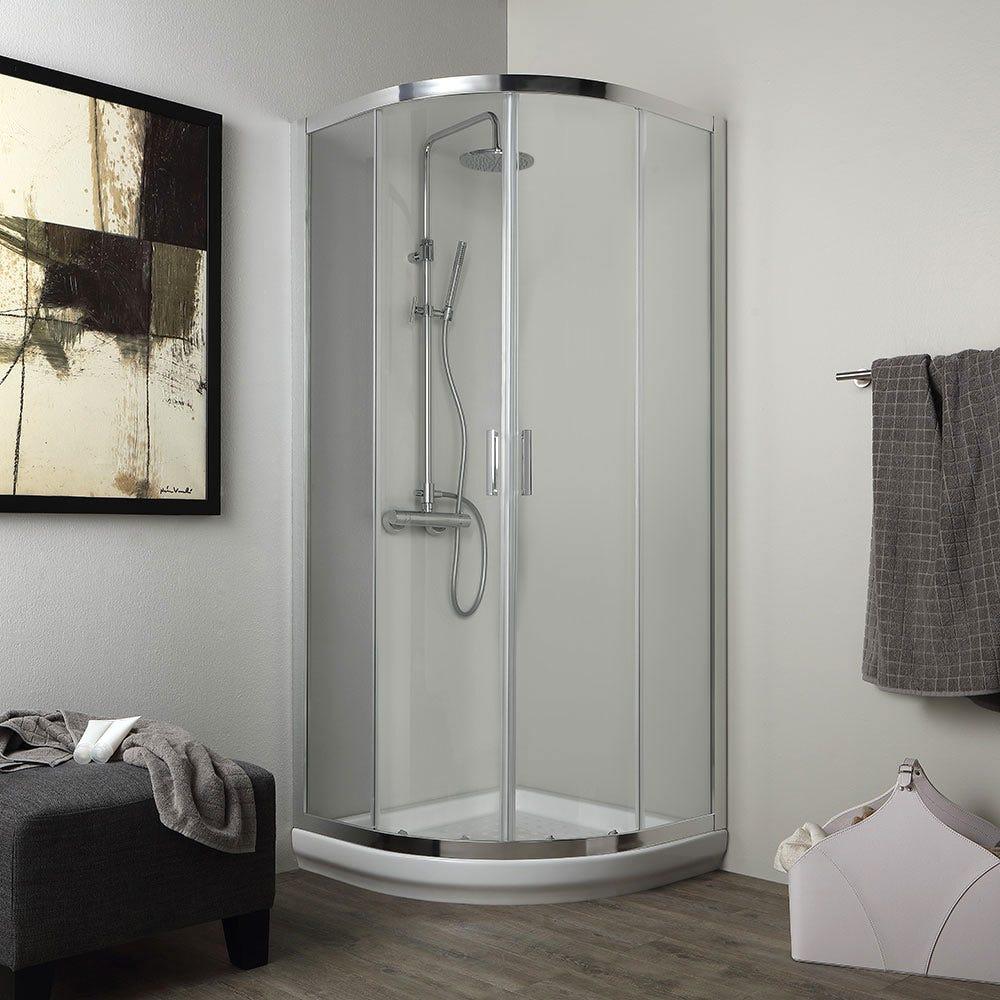 Box doccia stondato 80x80 cm cristallo 4mm trasparente - Foto di bagni con doccia ...