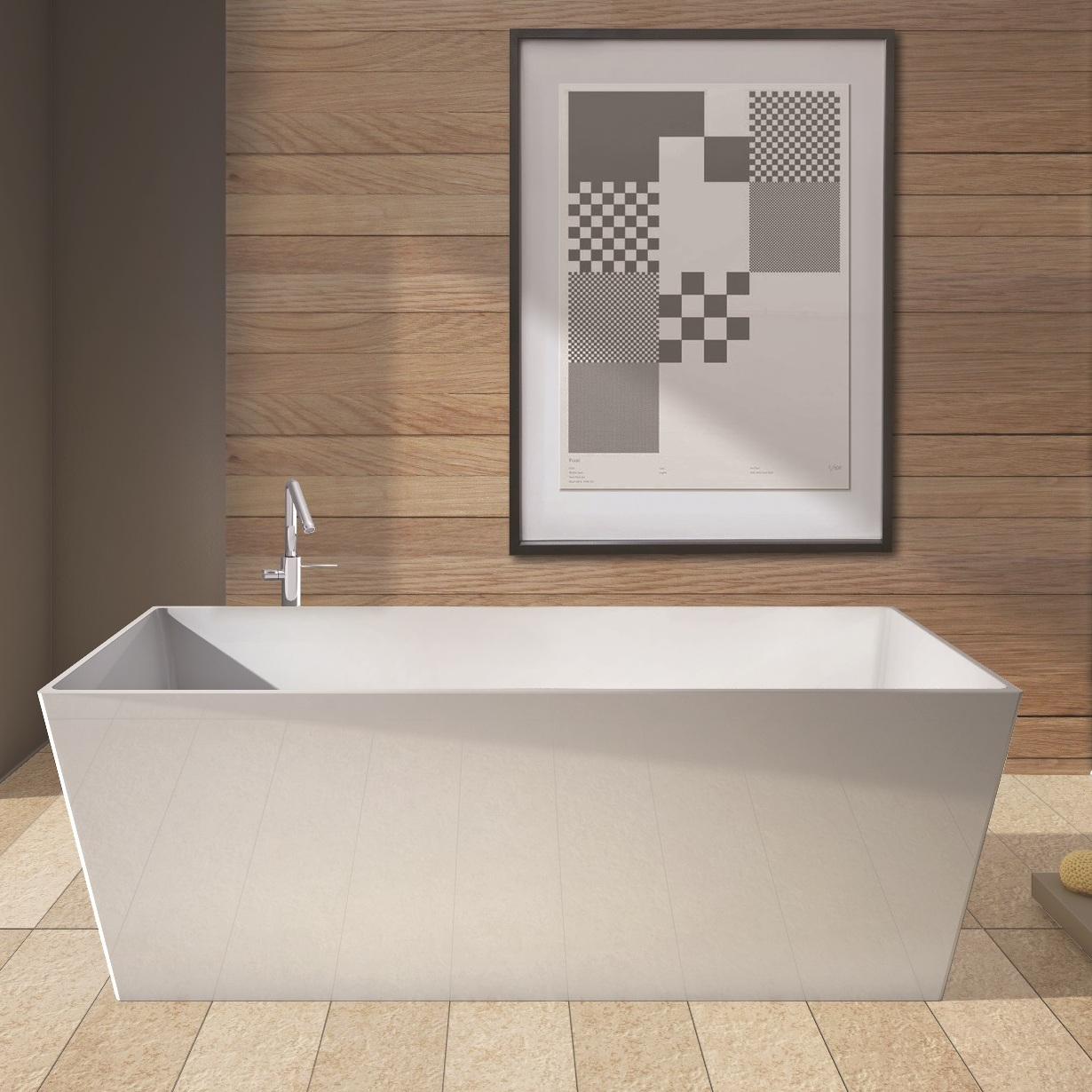 Vasca da bagno da design moderno quadra modello york in bianco lucido ebay - Vasca da bagno quadrata ...