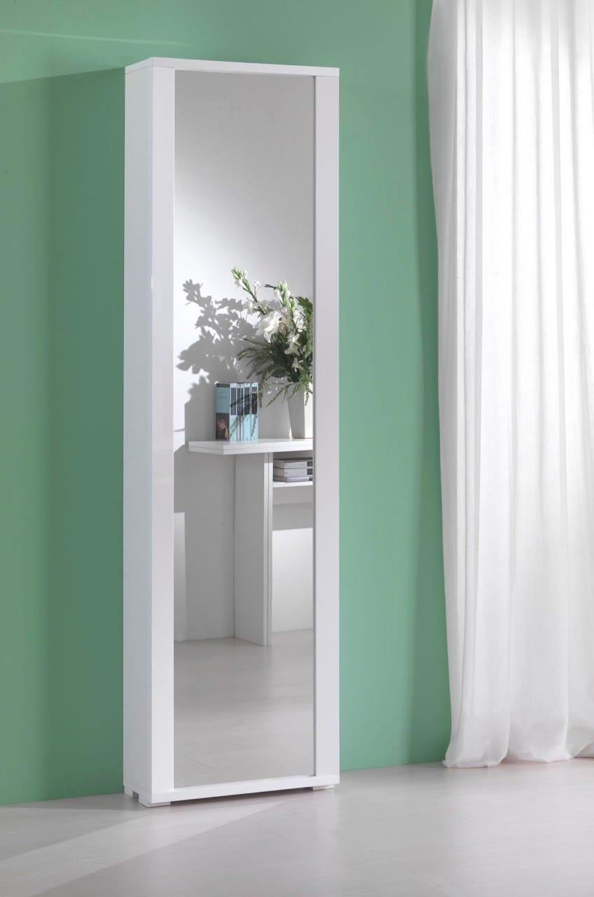 Colonna contenitore milleusi anta specchio cornice bianca for Specchio bagno brico