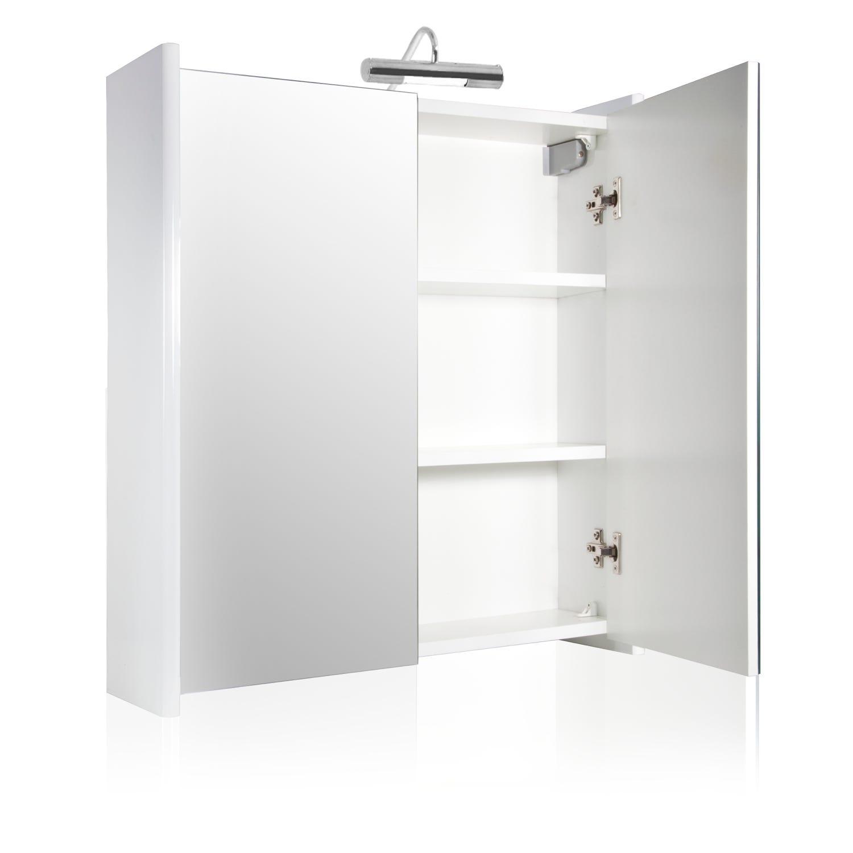 Specchiera arredo bagno in bianco lucido con due ante for Arredo bagno con due lavelli
