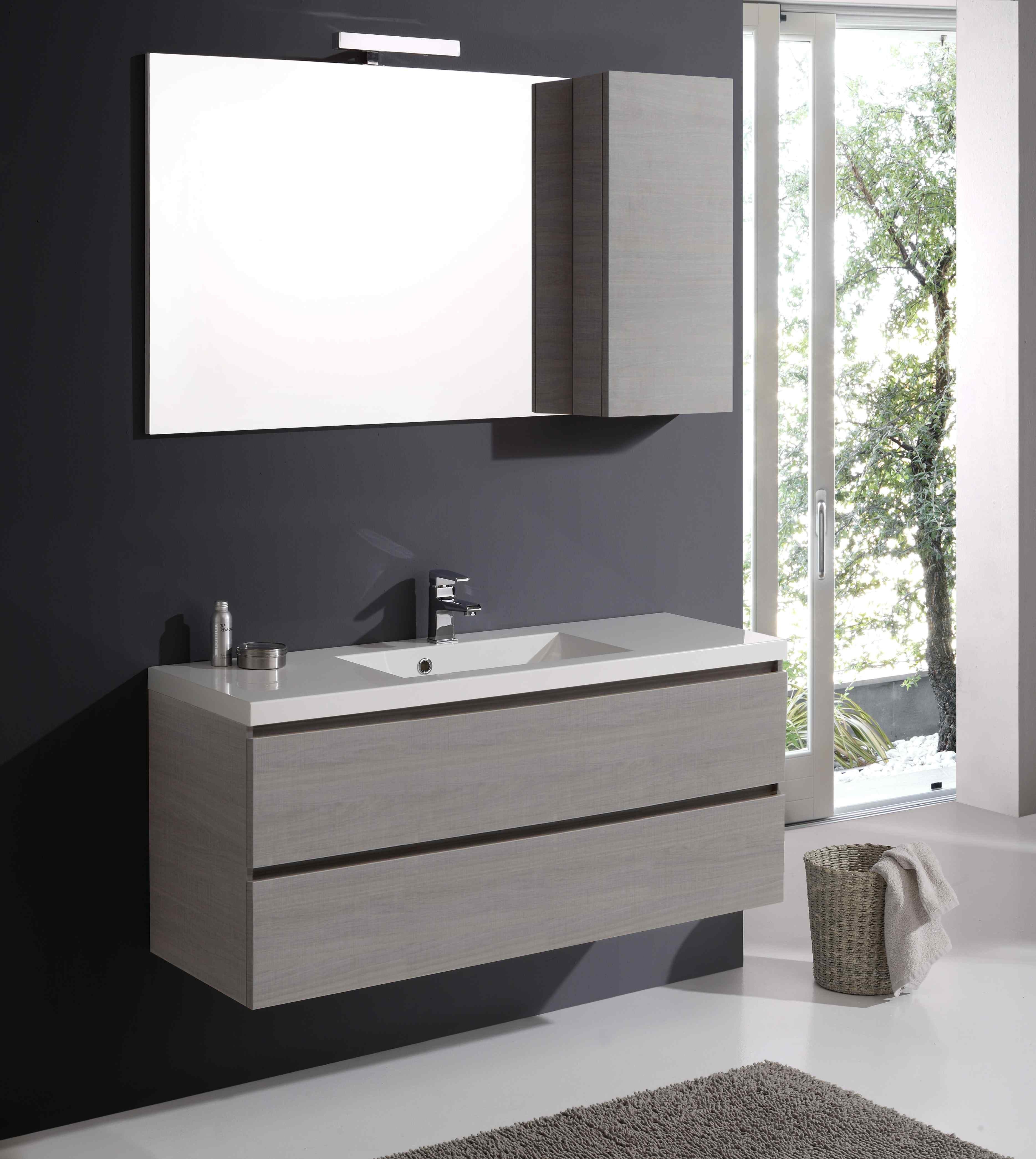 Mobile per bagno con larghezza 120 cm completo di specchio pensile e lampada ebay - Mobile specchio bagno ikea ...