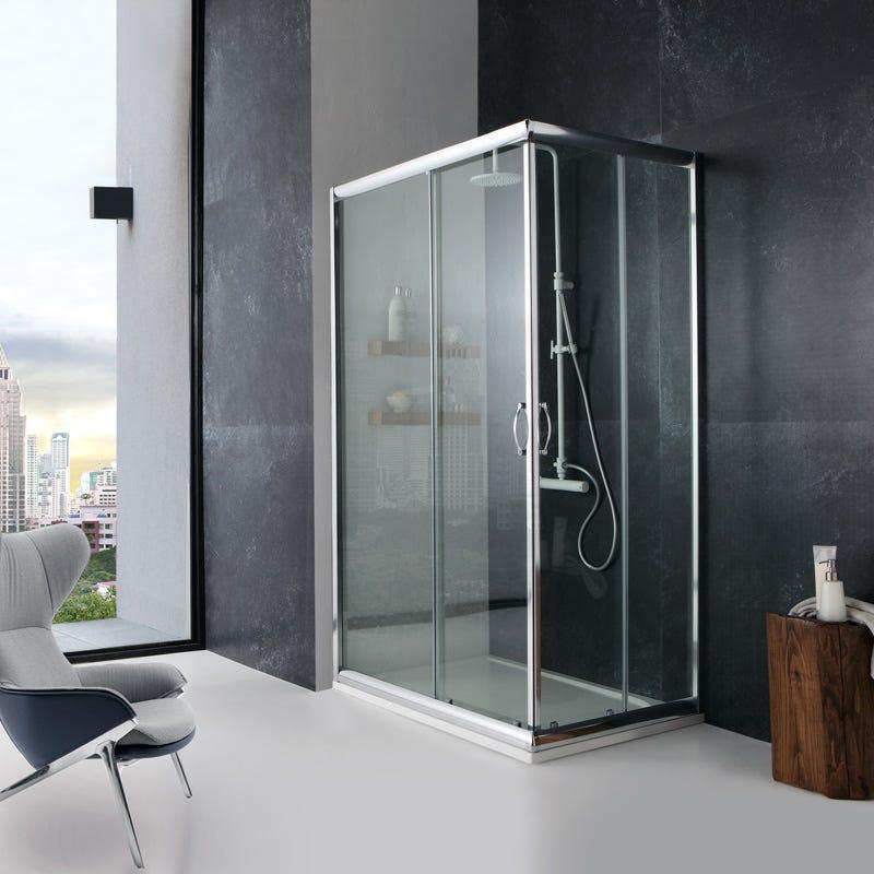 Box cabina doccia 70x90 cm angolare cristallo trasparente giada