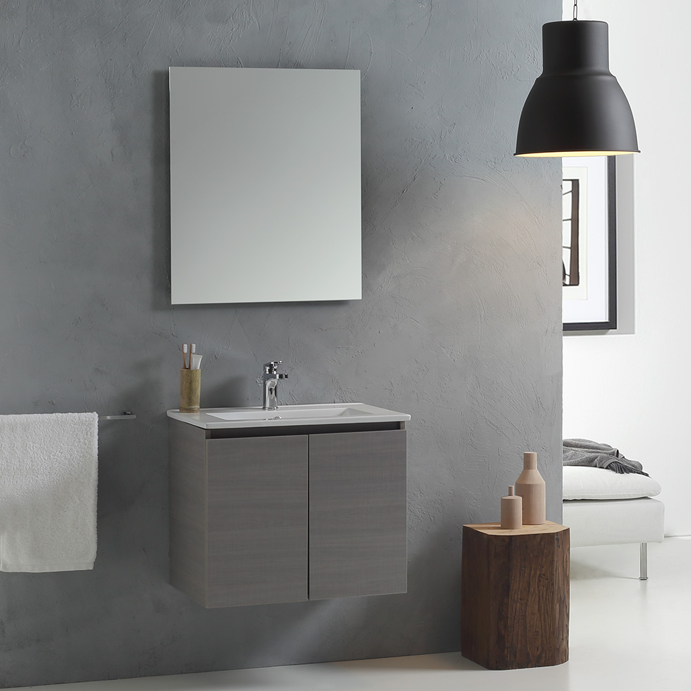 mobile bagno con lavabo 60 cm con ante grigio ebay. Black Bedroom Furniture Sets. Home Design Ideas