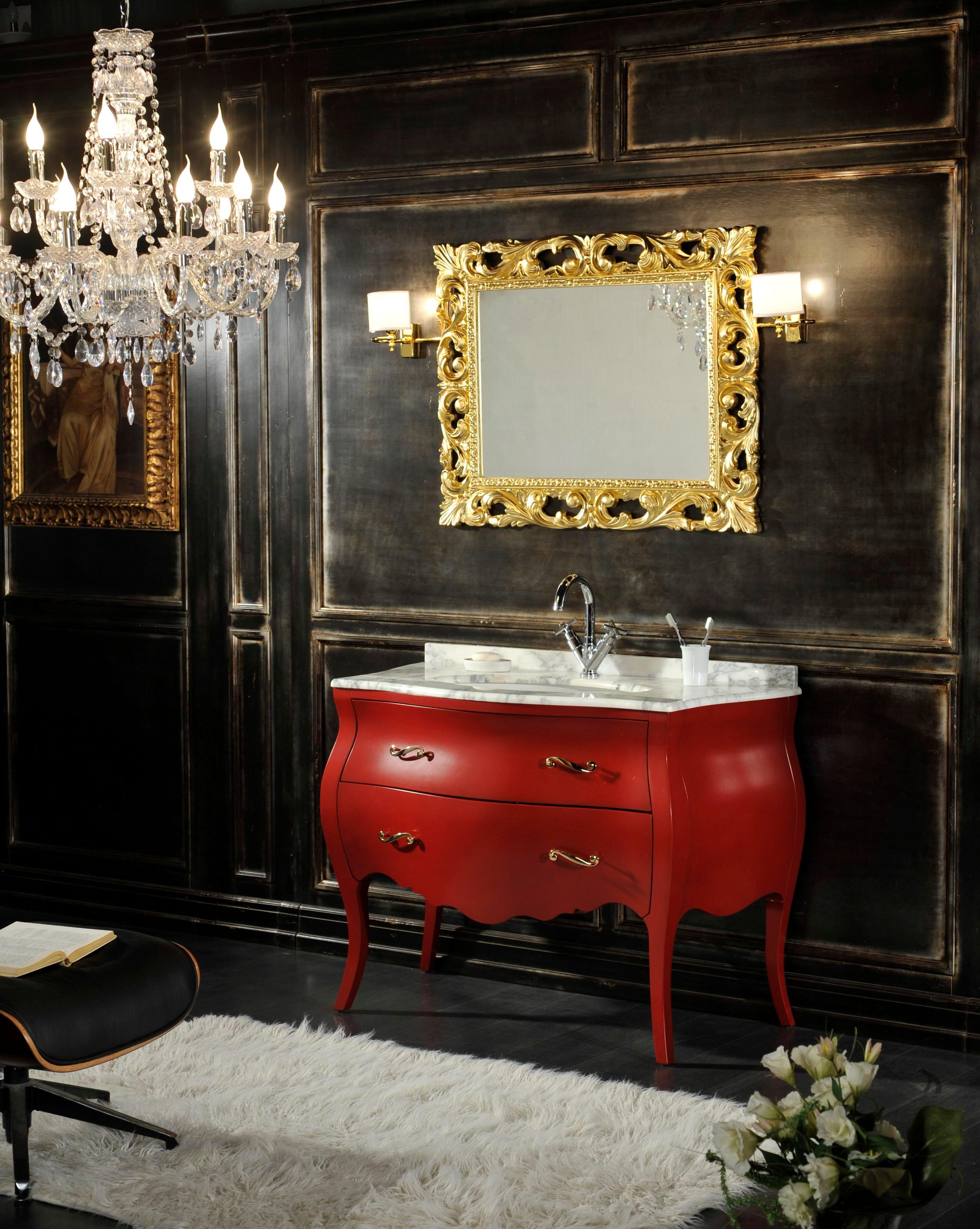 Mobile da bagno in stile barocco con specchio modello for Specchi barocchi