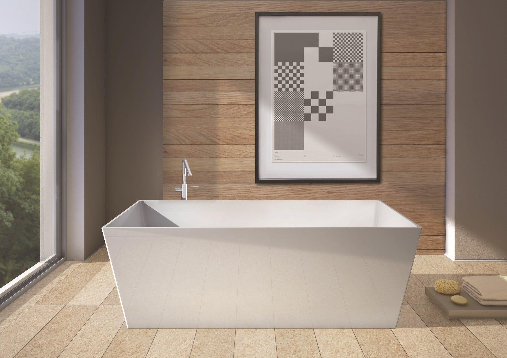 Vasca da bagno da design moderno quadra modello york in bianco lucido ebay - Vasca bagno design ...