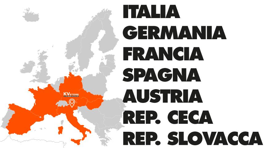 Mappa dell'Europa - Vendiamo in Italia, Germania, Francia, Spagna, Austria, Slovacchia, Repubblica Ceca